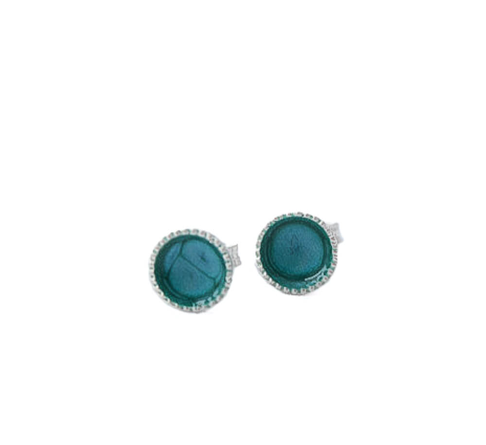 Sterling silver stud earrings for women in turquoise blue | 6mm