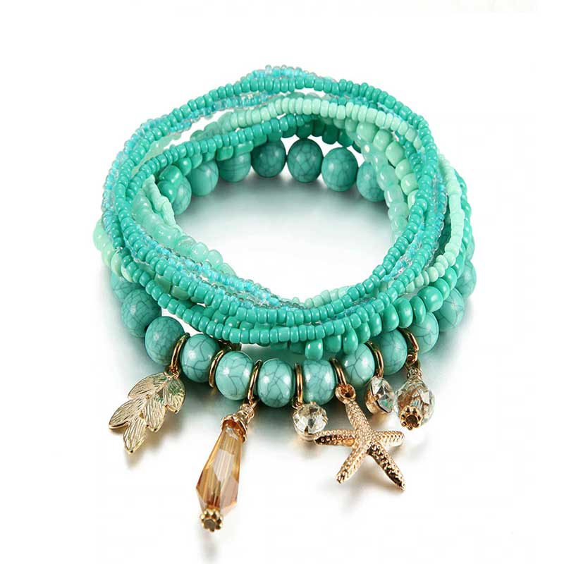 Turquoise Boho Stacking Bracelets | Lottie Of London Jewellery