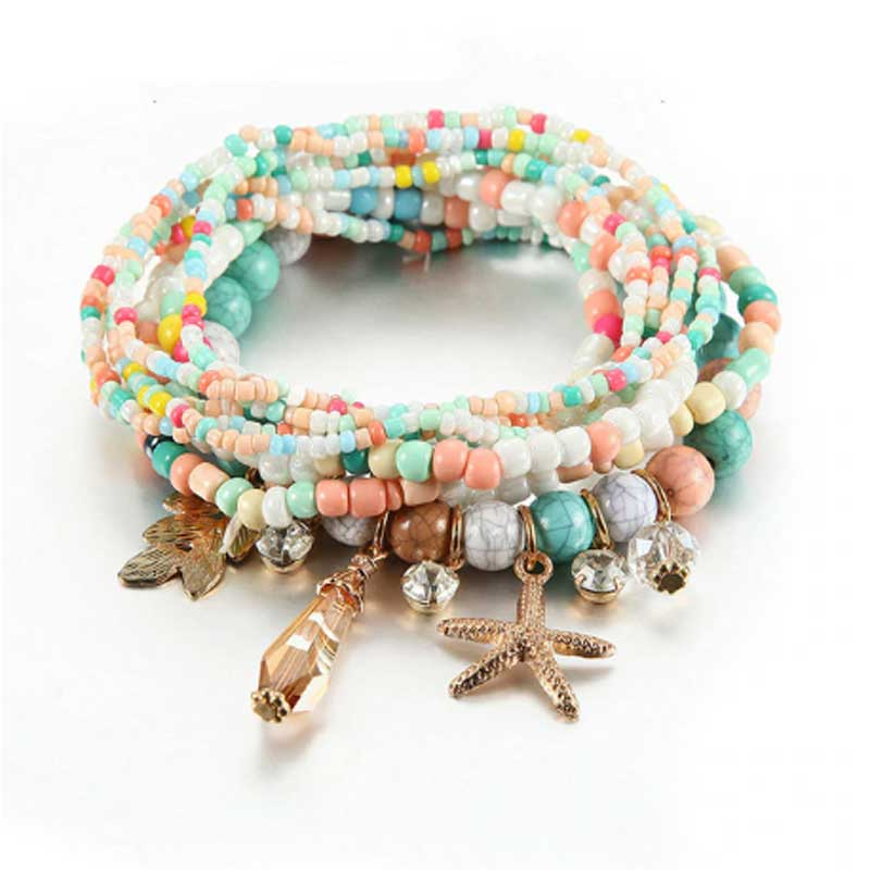 Boho Stacking Bracelets Set of 8 | Lottie Of London Jewellery