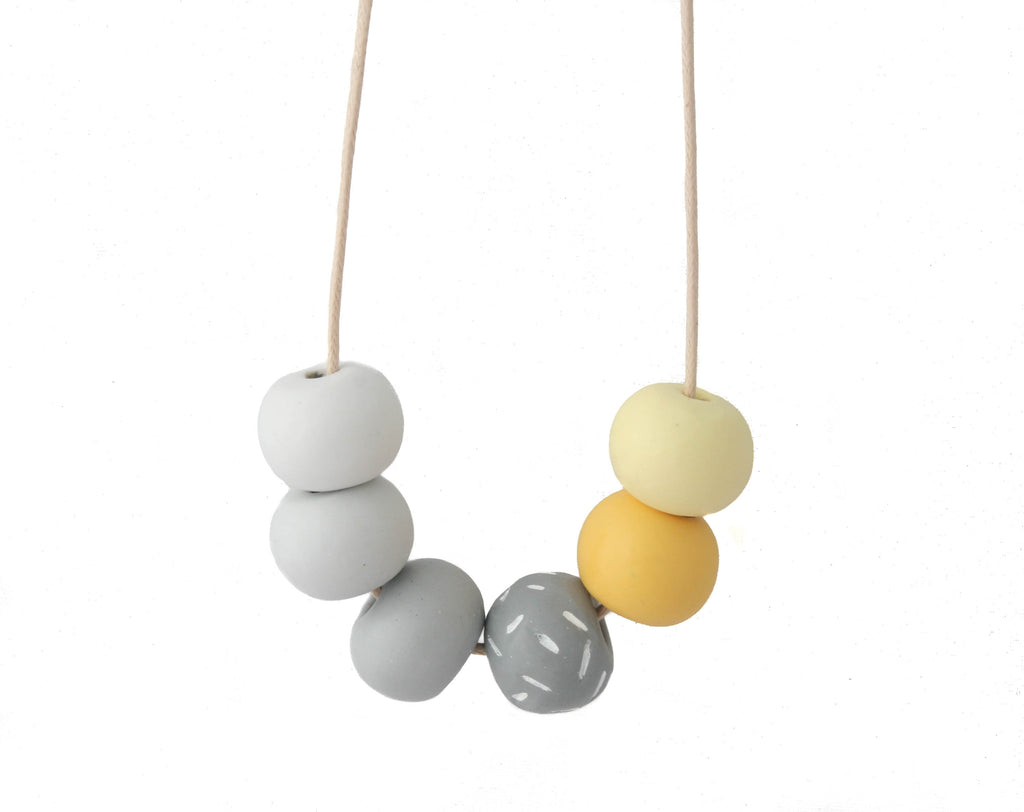 Long Bead Necklace In Grey & Yellow