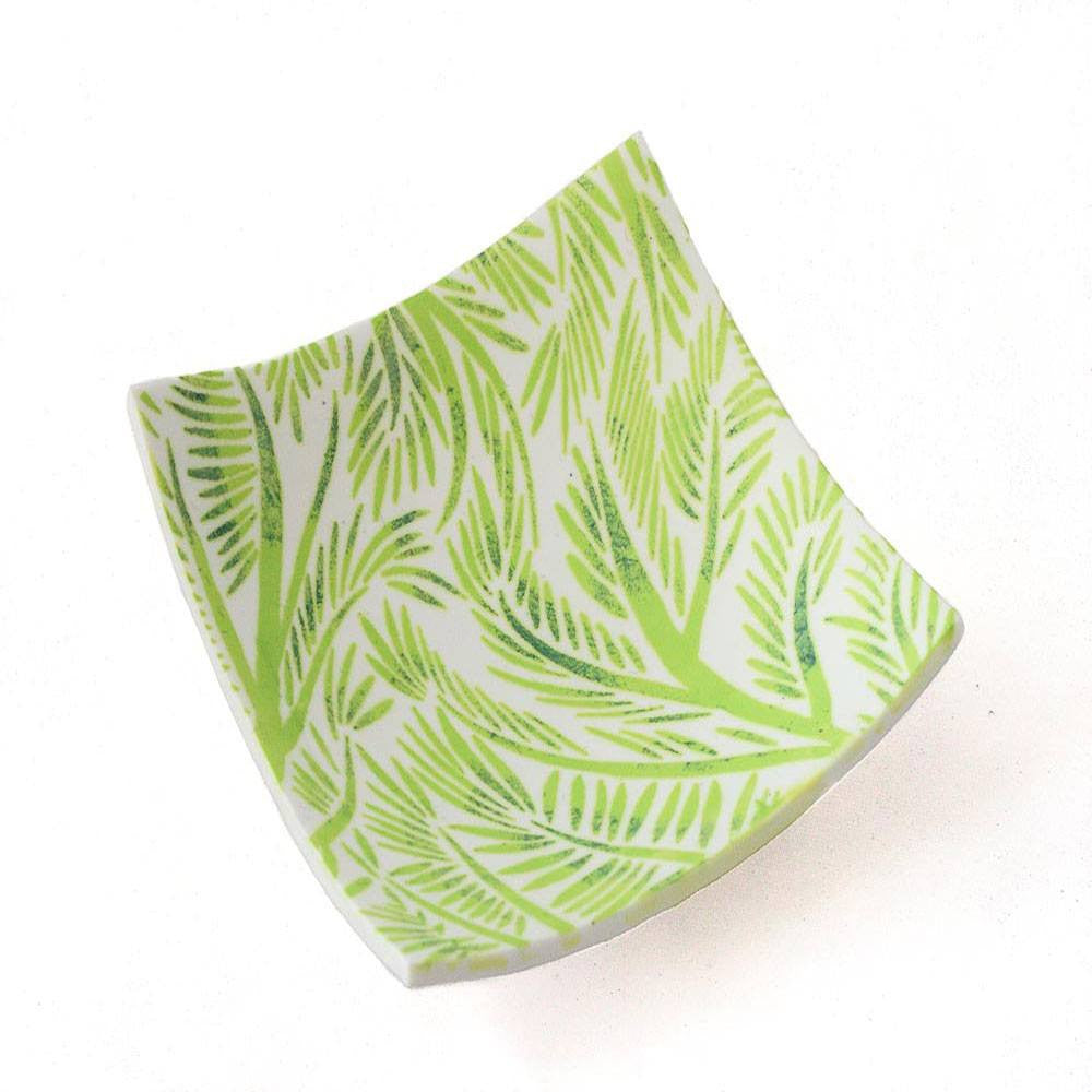 White Jewellery Ring Dish with Green Fern Print - Lottie Of London Jewellery