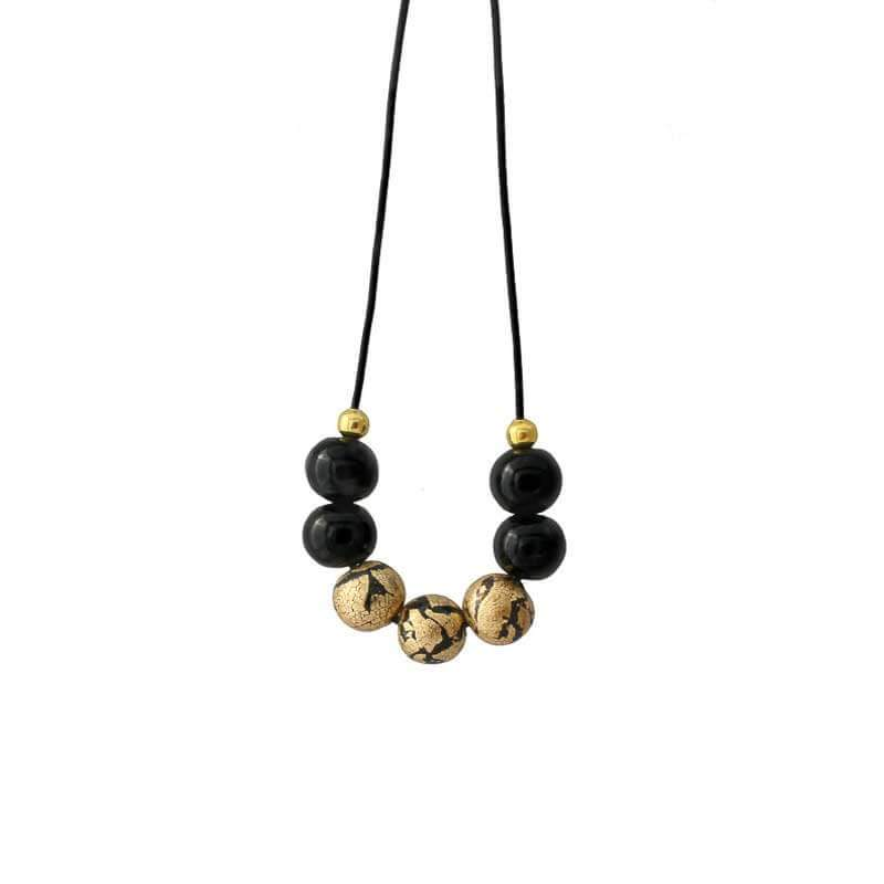 Beaded Necklace for women in black and gold