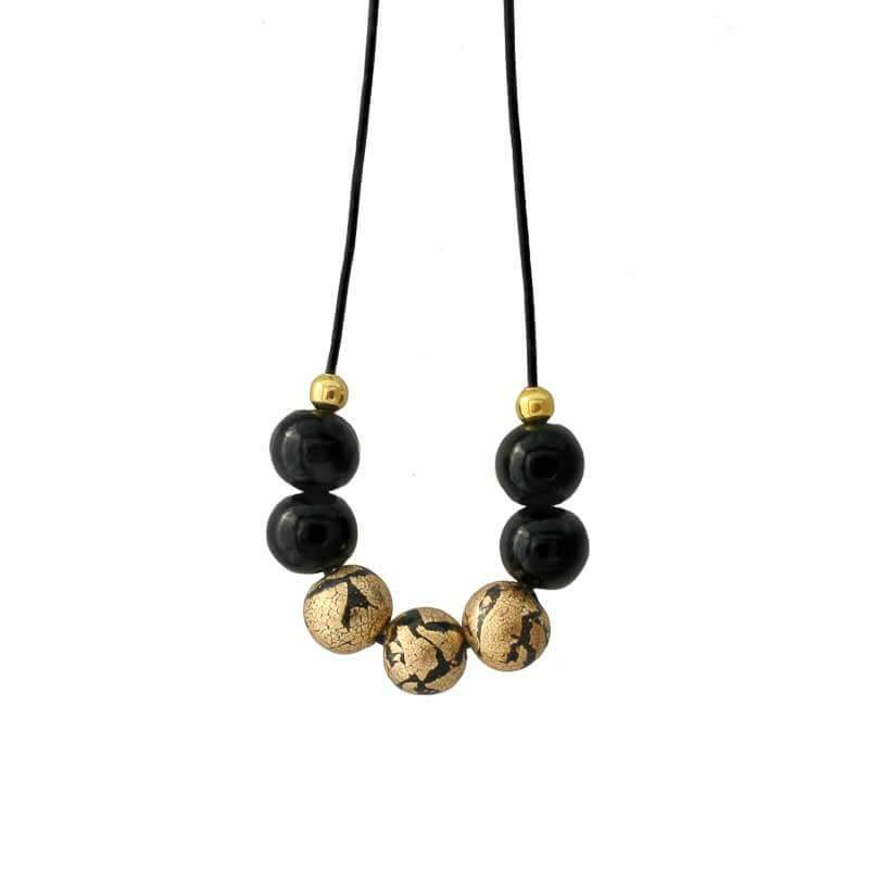 Statement Bead Necklace for women in black and gold