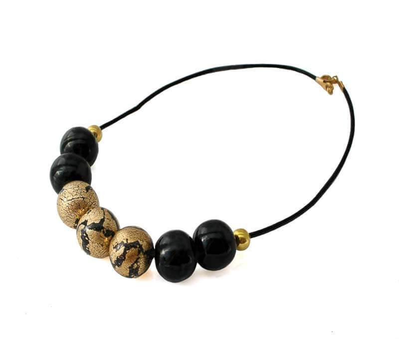 Bead Necklace for women in black and gold
