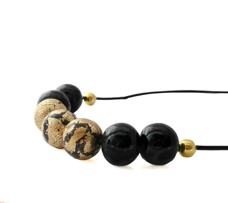 Statement Necklace for women in black and gold