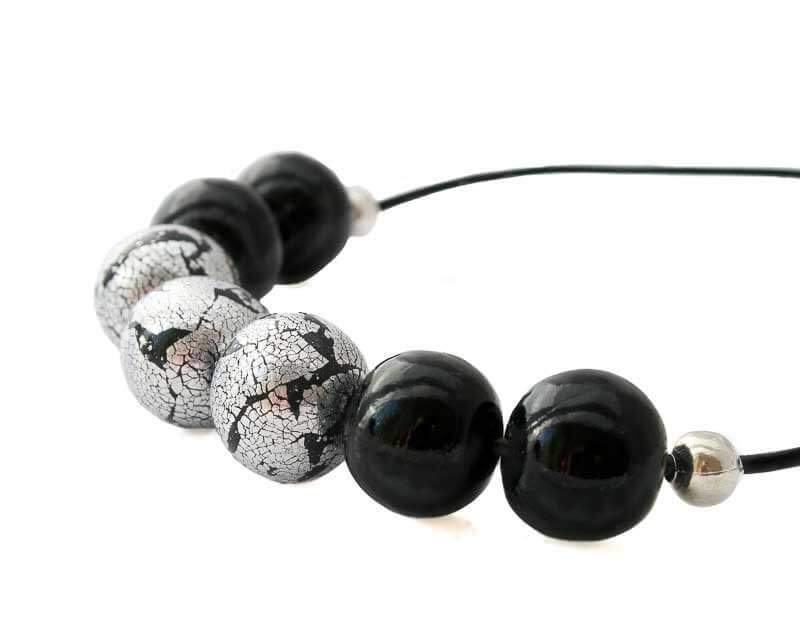 Statement Bead Necklace for Women in Black & Silver - Lottie Of London Jewellery