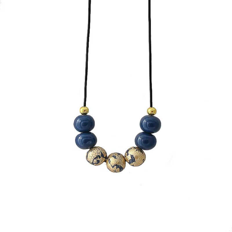 Navy & Gold Statement Bead Necklace for Women