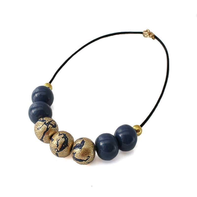 Statement Bead Necklace for Women in navy & gold