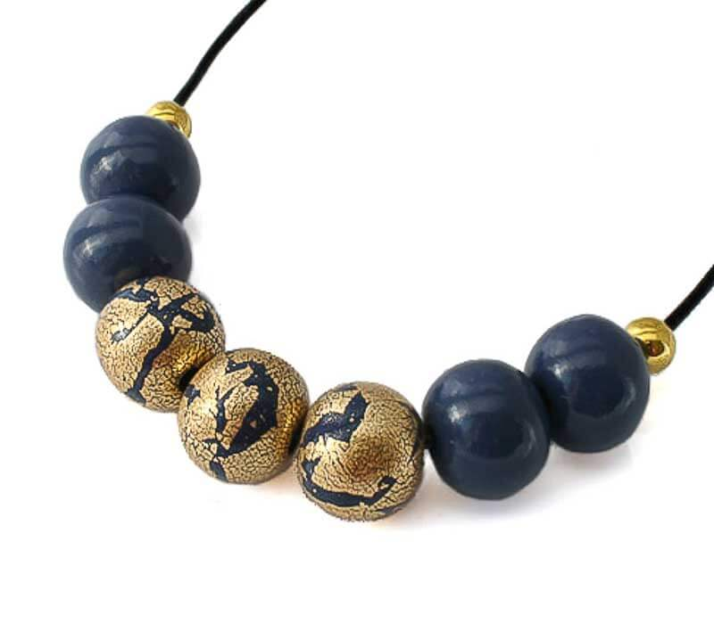 Bead Necklace for Women in navy & gold