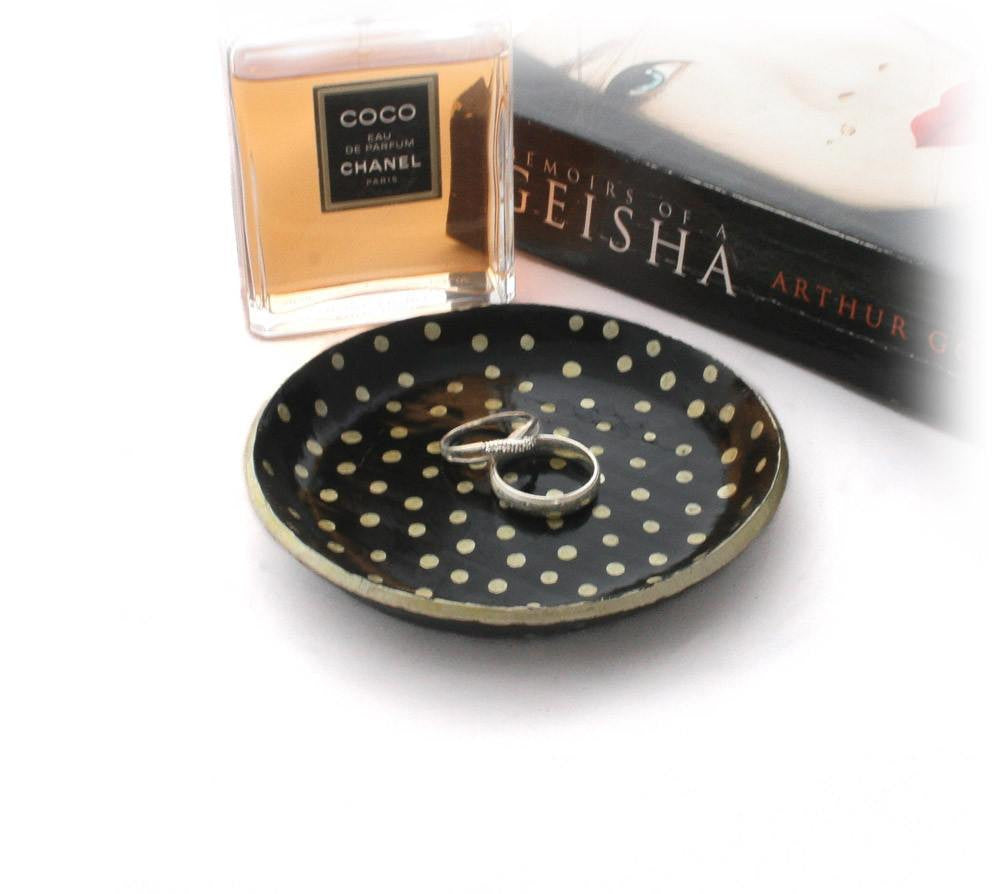 Black and Gold Polka Dot Jewellery Tray - Lottie Of London Jewellery