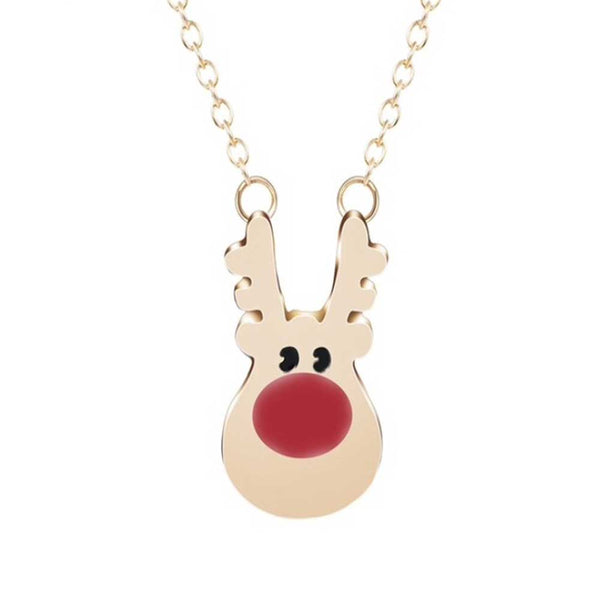 Rudolph the reindeer necklace in gold