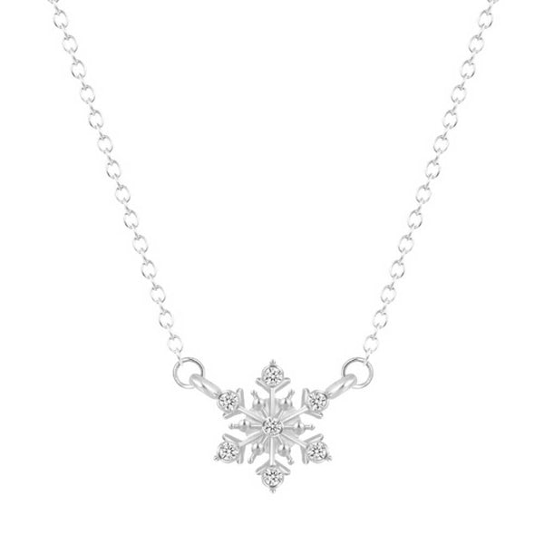 Dainty Snowflake Necklace in Silver