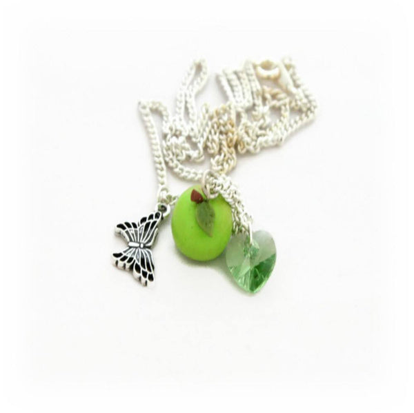 Green Apple Charm Necklace - Lottie Of London Jewellery