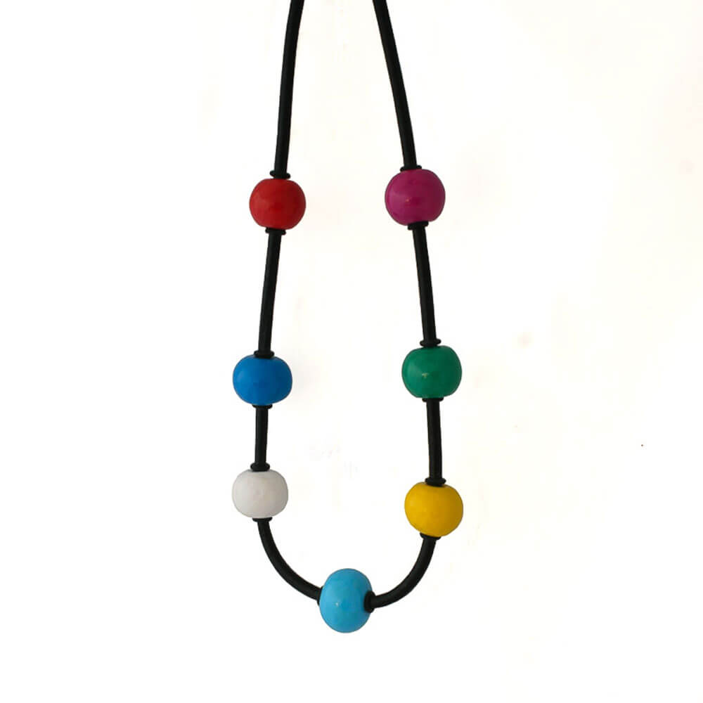 Multi Colour Chunky Bead Necklace - Lottie Of London Jewellery