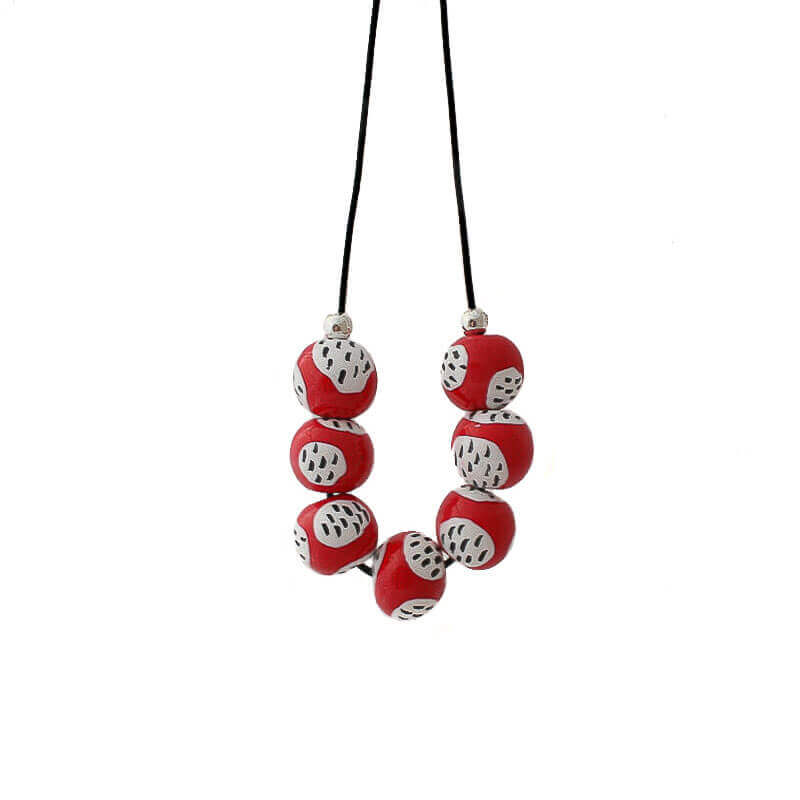 Statement Bead Necklace for women in red