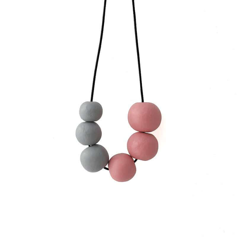 Chunky Statement Necklace in Grey & Pink - Lottie Of London Jewellery