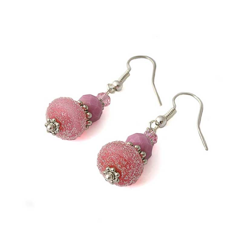 Pink Glass Bead Earrings for Women - Lottie Of London Jewellery