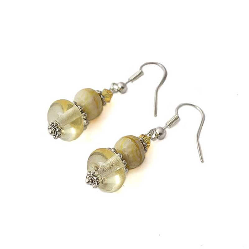 Yellow Glass Bead Earrings for Women - Lottie Of London Jewellery