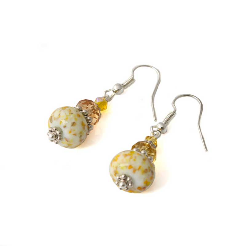 Glass Bead Earrings for Women in Yellow - Lottie Of London Jewellery