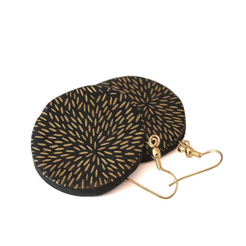 Big Statement Earrings in Black & Gold - Lottie Of London Jewellery