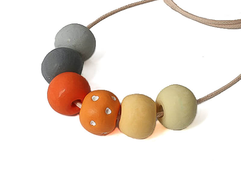 Long Bead Necklace in Orange Hues - Lottie Of London Jewellery