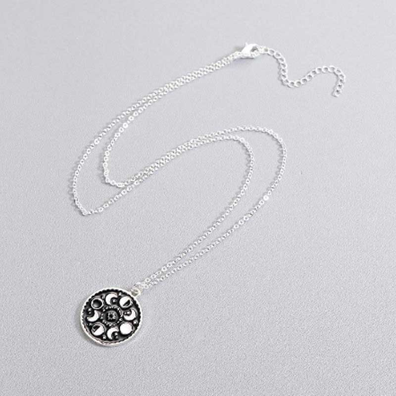 Moon phase pendant necklace for women in silver