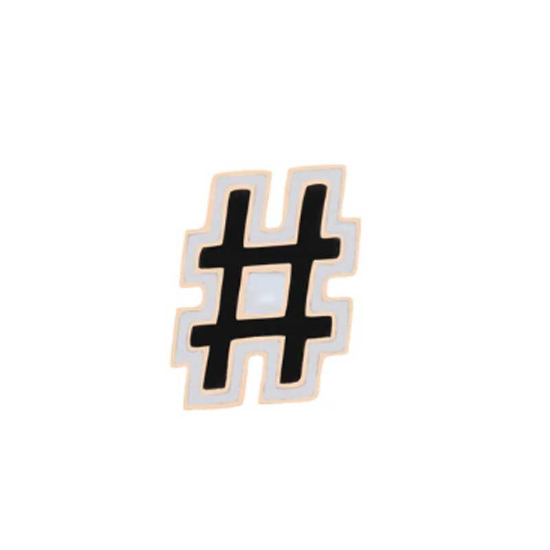 Enamel Hashtag Pin - Lottie Of London Jewellery