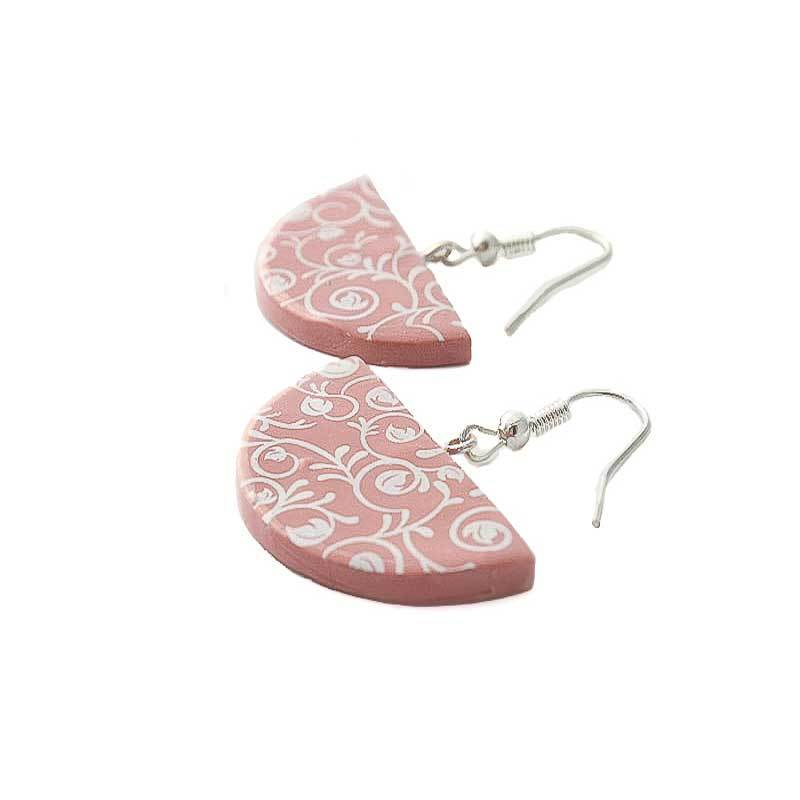 Half Moon Drop Earrings for Women in Pink - Lottie Of London Jewellery