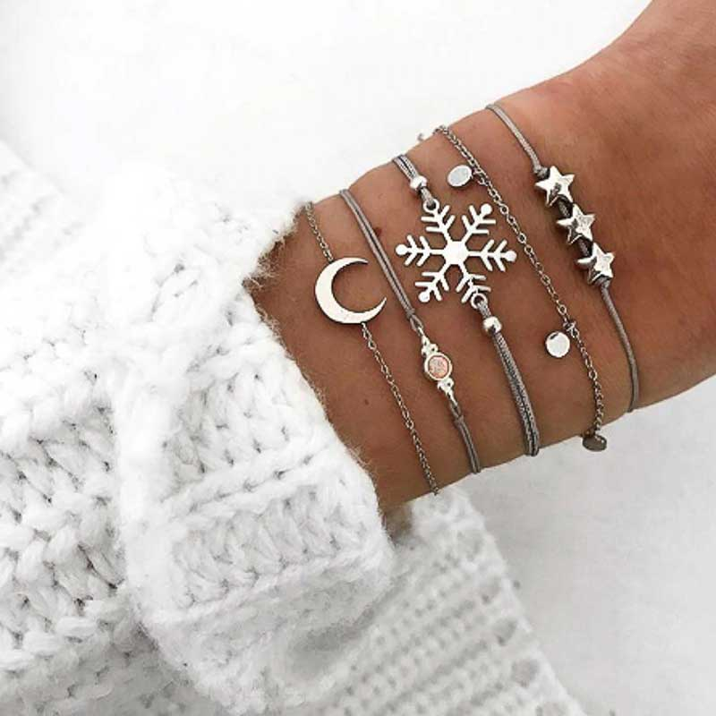 Snowflake Stacking Bracelets | Boho Jewellery - Lottie Of London Jewellery