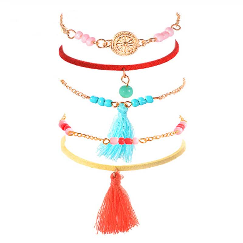 Colourful Tassel Stacking Bracelets - Lottie Of London Jewellery