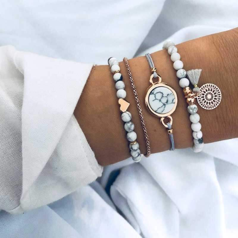 Boho Stacking Bracelets in Grey - Lottie Of London Jewellery