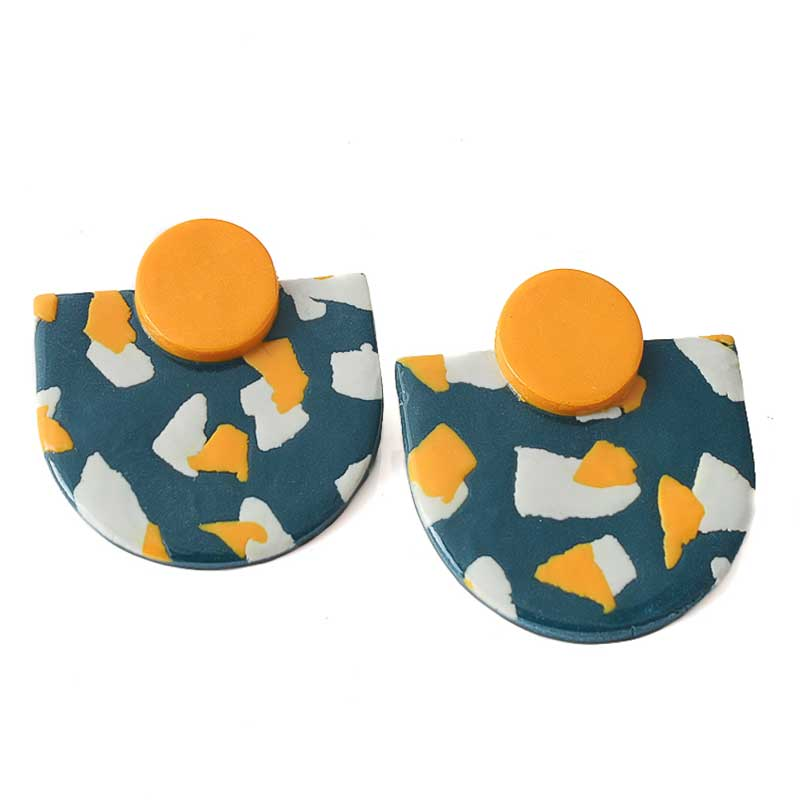 Large statement earrings for women in navy blue