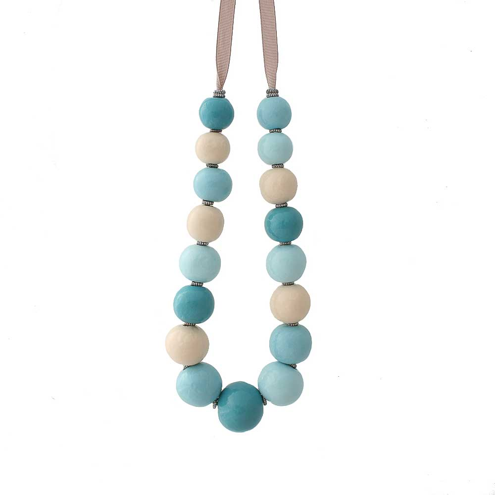 Chunky statement necklace for women in pale blue