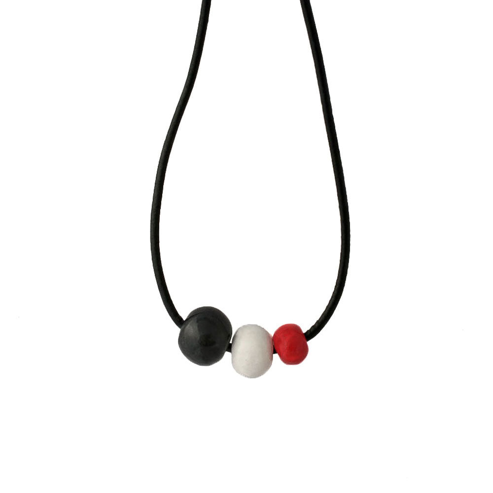 Chunky Statement Necklace in Black, White and Red - Lottie Of London Jewellery