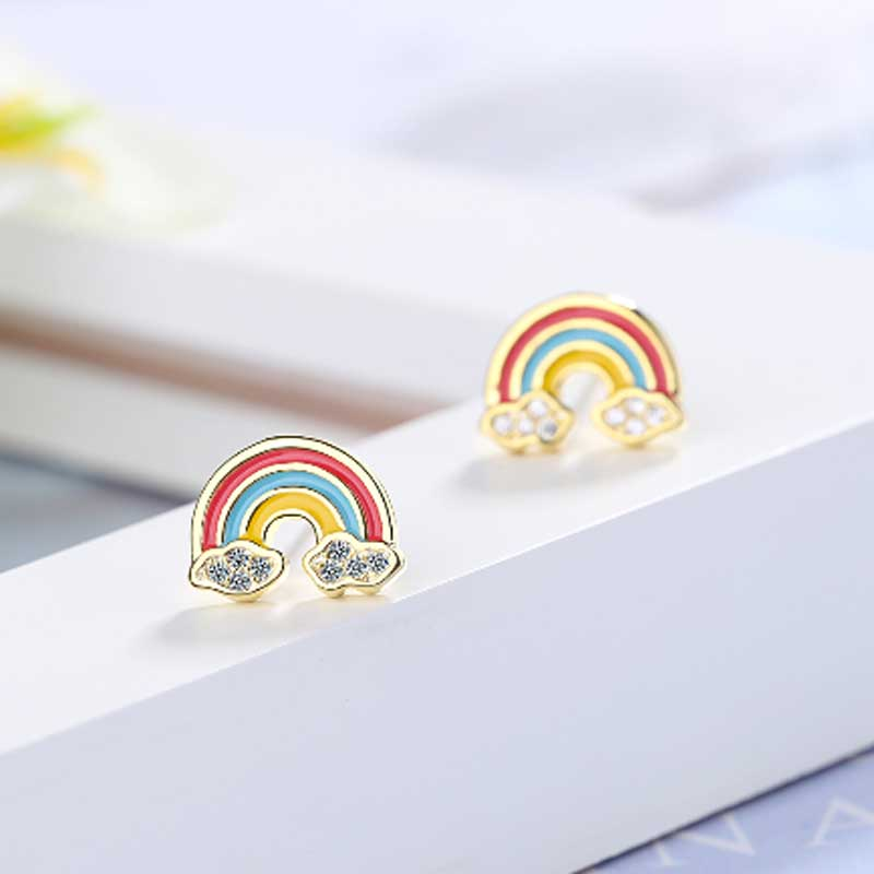 Tiny Rainbow Stud Earrings for Women