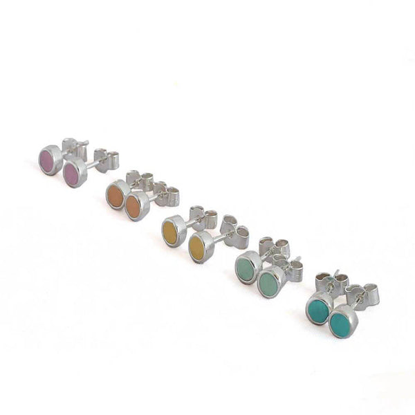 Colourful sterling silver small stud earrings