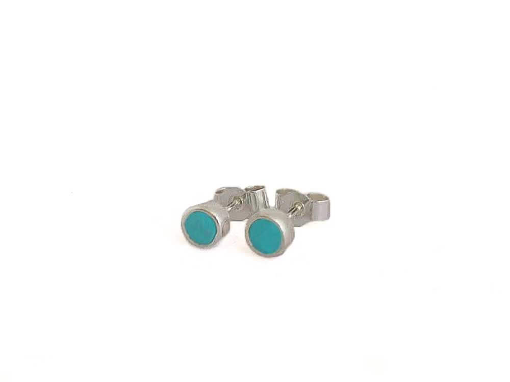 turquoise blue stud earring set in sterling silver