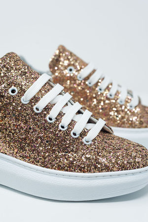 Chunky Lace Up Sneakers in Gold Glitter