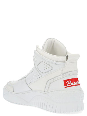 BUSCEMI WHITE HI TOP SNEAKERS