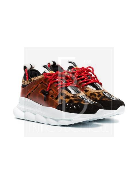 Versase Multicoloured Chain Reaction Leopard Print Leather Sneakers