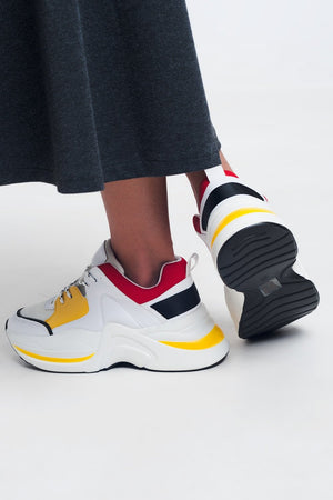 White Sneakers With Yellow and Red Details