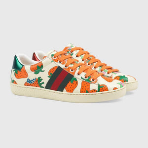 Gucci Ace Leather Sneaker With Strawberry Print
