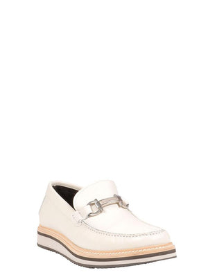 SALVATORE FERRAGAMO WHITE LOAFERS
