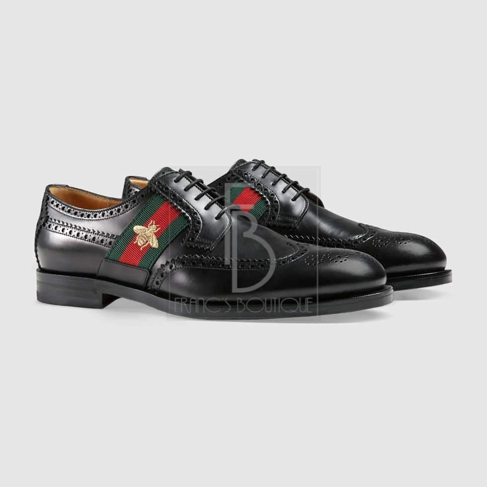 Gucci Leather Lace-Up With Bee Web