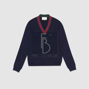 Gucci V-Neck Sweater With Web
