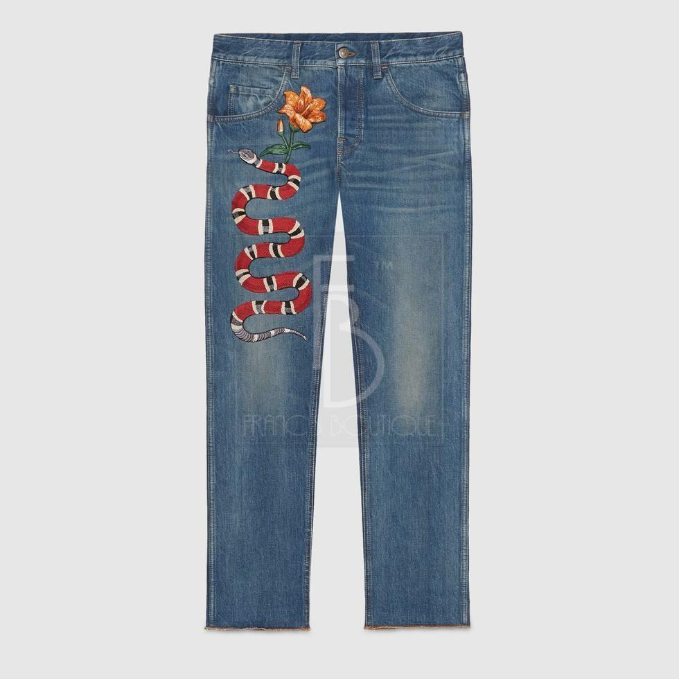 Gucci Embroidered Denim
