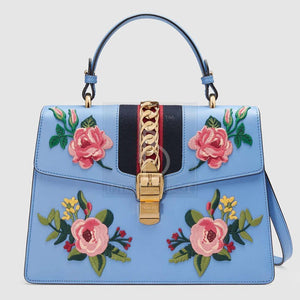 Gucci Sylvie Embroidered Handle Bag