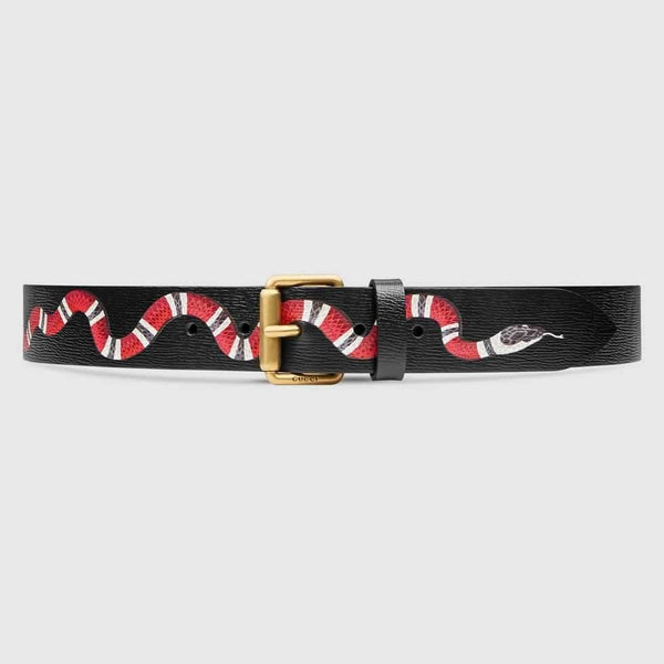 Gucci Leather belt with Kingsnake