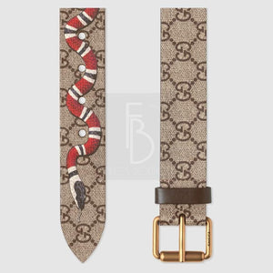 Gucci Gg Supreme Belt With Kingsnake Prin