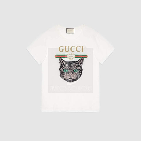 Gucci Logo T-shirt with Mystic Cat